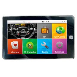 Wholesale HD inch Bluetooth Car GPS Navigator AV IN Vehicle GPS Navigation Media Player FM WinCE GB New Maps