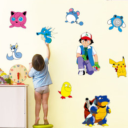 New Poke Go Wall Stickers for Kids Rooms Home Decorations Pikachu Wall Decal Amination Poster Wall Art Wallpaper