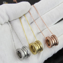 Compression Elastic Pendants Necklaces Of Titanium Stainless Steel with Rhinestone,Yellow gold Rose gold Silver Metal Colors Women Men Chain
