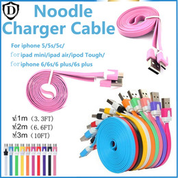 1m 2m 3m Noodle Flat Micro USB Cable USB Charger V8 Charging Line for Android All i phone 7