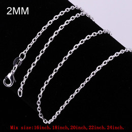 Mix Size 2mm Sterling Silver 925 Rolo Chain Necklace Charms Link Chain Lobster Clasp 16inches~24inches Freeshipping