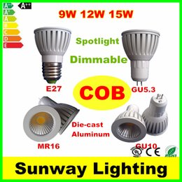 Wholesale New Die cast Aluminum LED Bulbs GU10 GU5 MR16 E27 COB LED Light Dimmable Led W W W Spot lights v v v