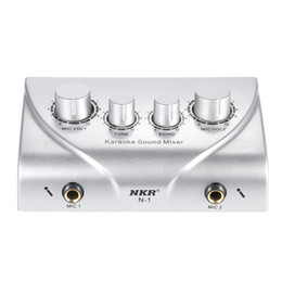 Wholesale Karaoke Sound Mixer Dual Mic Inputs With Cable N Silver Color Microphone amplifier microphone Mixer karaoke OK