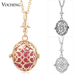 VOCHENG Pregnancy Ball Chain Necklace Copper Metal 3 Colors Plating Hollow out Pendant Women Jewelry with Stainless Steel Chain VA-235