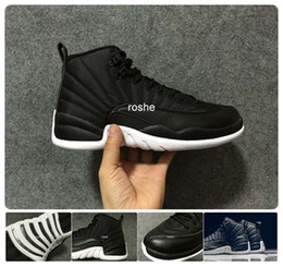 2016 Retro 12 Neoprene Black Nylon Mens Basketball Shoes Wholesale High Quality Waterproof New Sneakers Mens Trainers 130690-004 Eur 41-47