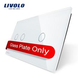 Wholesale wall switch DIY Livolo Luxury White Pearl Crystal Glass mm mm EU standard Double Glass Panel VL C7 C2 C1