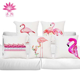 muchun Brand Flamingo Style Halloween Cotton&Linen Sofa Throw Pillow Cover 45*45 cm Christmas Extra-Thick Decorative Party Pillow Case