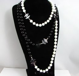 Wholesale hot sale lady black white pearl letter necklaces women s multilayer necklace sweater chain jewelry christmas gift