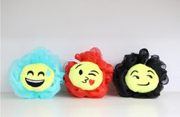 Wholesale Newest QQ Expression Emoji Smiley Bath Flower Bath Ball Sponge Bathing Spa Shower Scrubber Ball Colorful Bath Brushes Sponges