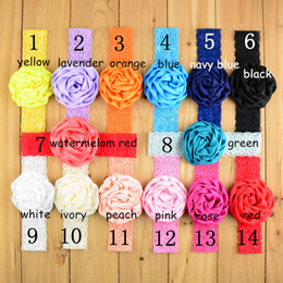 free shipping 30pcs lot 14Colors 3.16inch Baby Girls Toddler Children Elastic Headband Lace Rose Flower Hairband kids Headbands FD88