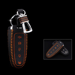 5 buttons for Ford Edge Genuine Leather Car Key bag case wallet holder remote key cover