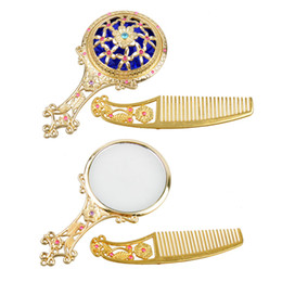 Classic Retro Vintage Makeup Mirror Compact Copper Golden Hollow Out Cosmetic Held Hand Mirror with Hair Comb with box ( 2805039)