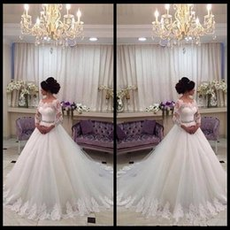 Wholesale In wedding wear white wedding dress is absolutely a line wedding dress sweetie personalized decals long sleeved dress