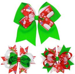 Arcos del pelo de los niños al por mayor de accesorios en Línea-Navidad de las niñas Baby Childrens Barrettes Grosgrain cinta horquillas tocado Tail Clip de cola Xmas que usan pelo banda arco Accesorios de pelo al por mayor