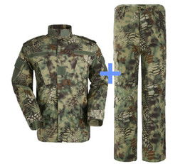 Wholesale Outdoor Camofluage Python Pattern Tactical Suit Battle Strike Uniform Suit Camping Hiking Hunting Paintball Camo Suit