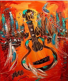 Wholesale GUITAR modern abstract landscape Contemporary Pure Hand Painted Art Oil Painting On Canvas any customized size accepted righ