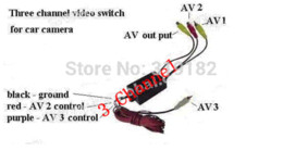 Wholesale Three channel car camera video controller box car video automatic switch control rear side or front cameras DVD VCR