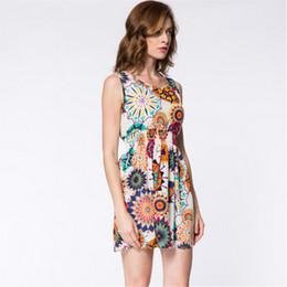Wholesale Summer new Women casual dresses Bohemian floral flower sleeveless vest printed beach chiffon simple top dress a