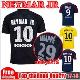 2017 2018 Third black PSG NEYMAR JR home soccer jersey 17 18 MBAPPE Di Maria Draxler DANI ALVES Cavani Away yellow Football Maillot shirt