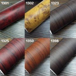 Wholesale 122 CM Self adhesive Vinyl Wood Grain Textured Car Wrap Car Internal Stickers Wallpaper Furniture Wood Grain Paper Film
