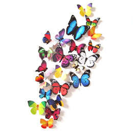 24PCS 3D Butterfly Art Decal Wall Stickers Magnetic Home Decor Room Decorations