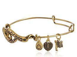 Wholesale Alex and Ani style retro original accessories steel rim charm bracelet