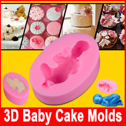 Wholesale Fondant Diy silicone mold Three D Sleeping baby chocolate mold silicone cake decorating molds Cake Tools sample