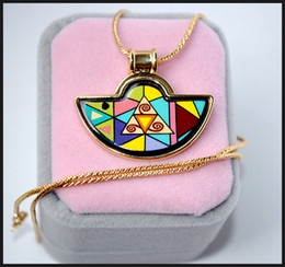 Geometric Fantasy Series 18K gold-plated enamel necklaces for woman Fan Pendant Necklace colar women necklace
