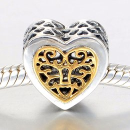 Locked Openwork Heart 14K Gold Heart Filigree Pattern 100% 925 Sterling Silver Beads Fit Pandora Charms Bracelet Authentic Fashion Jewelry