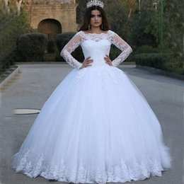 Wholesale China Custom Made Lace Dress - Lace Bateau Neck Sheer Ball Gowns Tulle Wedding Dresses Long Sleeves Puffy Mohammad Wedding Gowns China Made Robe De Mariage