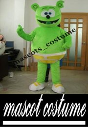 Wholesale with one mini fan inside the head mb007 Good vision real picture gummy bear mascot for adults