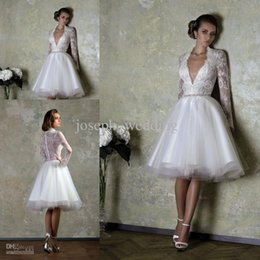 Wholesale Alluring low cut v neck see through back lace bridal wedding dress with long sleeve ZWD226