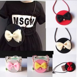 Wholesale Korean Style Childrens Pretty Bags Summer New Baby Girls Fashion Pearl Bow PU Leather Princess Messenger Bags Kids Casual Bags