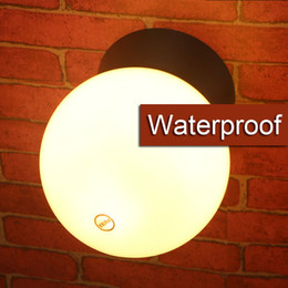 waterproof bathroom indoor outdoor wall lamp sphere wall sconce white black Modern PC PMMA round ball outdoor wall light