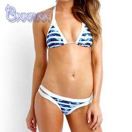 Wholesale Brazilian Sexy Bikini High Neck Swimsuit Micro Strappy Biquinis Striped Bandage Bathing Suits Good Service Swimwear For Women