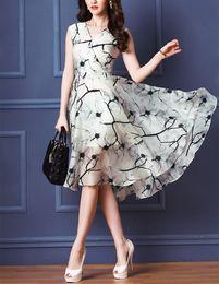 Wholesale 2016 Elegant Women Retro Print Dress Sleeveless Vest Skirt Dress S XL Size