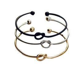 Fashion Minimalist love knot opening female copper bracelet Gold Silver Black Bangle Bracelet Simple Bracelets for Women