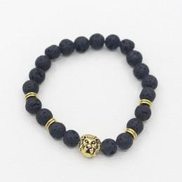 Lava Stone Animal Bracelet Men Jewelry New Fashion Gold Plated Lions Head or Leopard Head Beads Bracelets Free Shipping