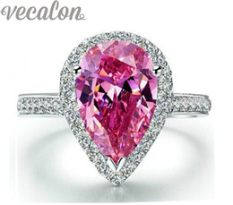 Vecalon fashion ring Pear cut 4ct Pink Cz diamond Engagement wedding Band ring for women 925 Sterling Silver Female Finger ring