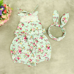Wholesale INS baby girl toddler Summer clothes piece set outfits lace floral romper onesie bloomers diaper covers playsuits Rose dress Bow headband