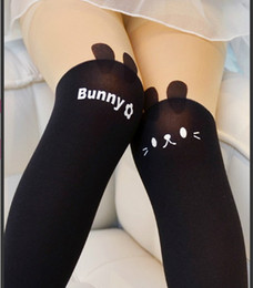 Wholesale Kitty Tights Wholesale - 2016 New Design Hot Sales 1 Piece Girls Tights Lovely Hello Kitty Bunny Velvet Stockings for Girls Cartoon Patchwork Kids Tight
