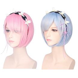 Descuento resistente para el cabello de calor 35CM Cosplay pelucas Ram Rem Cosplay pelucas cortas resistentes al calor BOB pelo cero Kara Hajimeru Isekai Seikatsu b