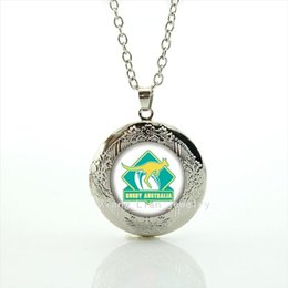 Wholesale Valentine s day gift jewelry kangaroo picture locket necklace Australia rugby football team jewelry for men and women NF019