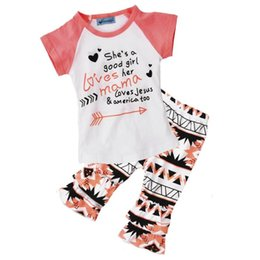 Wholesale NWT INS Baby Girls cotton Outfits Pajamas Summer Sets Cotton Tops Shirts Pants Lace shorts She s a good girl loves her mama America