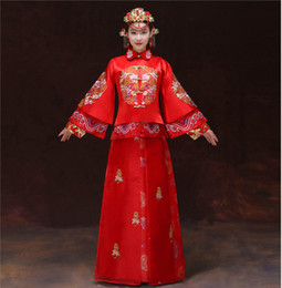 Wholesale China Style Bride Dress Marry Toast Ancient Costume Cheongsam Wedding