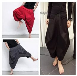 Punk men's trousers haroun pants Men's black wide-legged pants Cotton and linen material bloomers drop crotch yuppie hip hop pants 2016 New