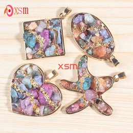 Wholesale 10Pcs Exquisite Shiny Gold Plated Natural Druzy Colorful Crystal Gravel Multi Style Pendant Charm Jewelry