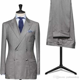 2016 Double Breasted Groom Tuxedos Jacket+Pant+Vest Wedding Suit For Men Mens Fashion Tux Tuxedos After Six Groom Suits---g010