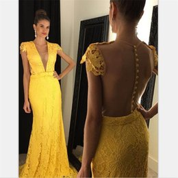 Chic Yellow Lace Prom Dresses 2020 With Appliques Sweep Train See Through Vestido Long Formal Dresses Robe De Soiree
