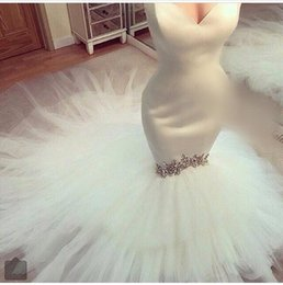 Sexy Sweetheart Mermaid Wedding Dress 2016 New Arrival Elegant Crystal Beaded Tulle Satin Bridal Wedding Gown Lace Up
